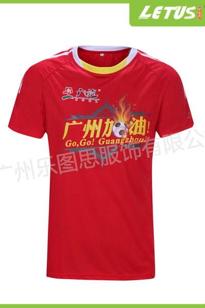 定做红色圆领涤纶短袖广告T恤活动赞助运动球服促销服