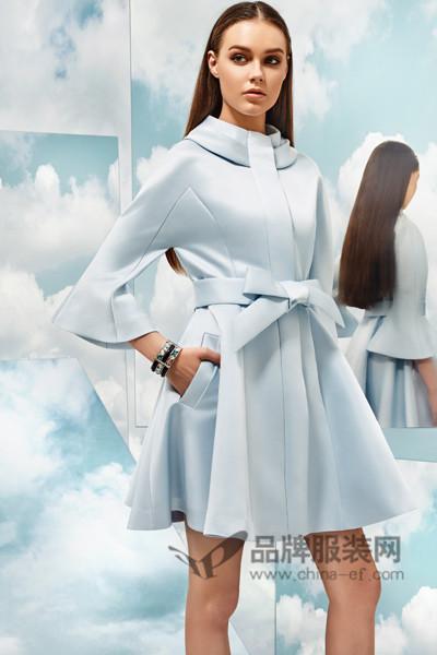 保时霓女装2017春季纯色中袖连衣裙