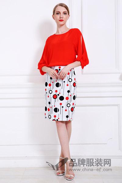 橘红色七分袖上衣赫梵茜女装2017春季