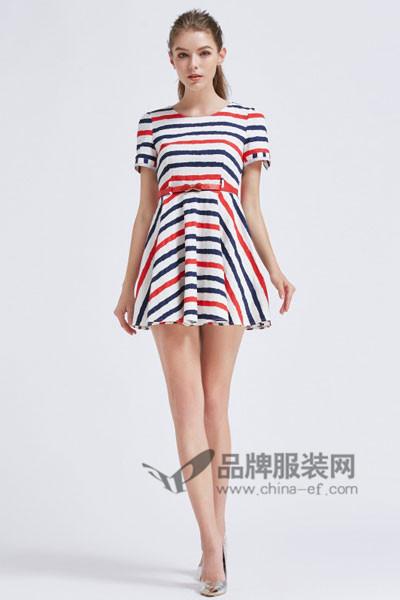 摩兰度女装2017春夏条纹连衣裙