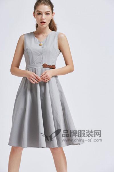 摩兰度女装2017春夏无袖收腰连衣裙