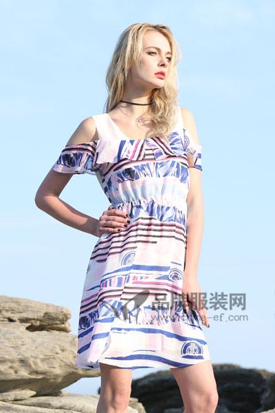 丹菲诗女装2017夏多彩连衣裙