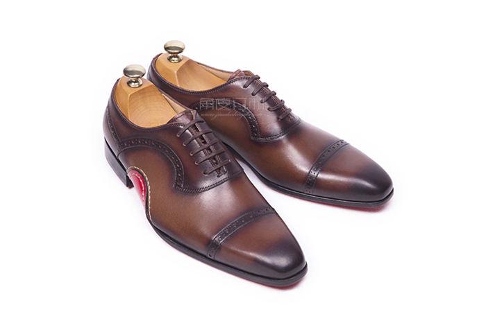 角度订制-手工定做皮鞋【经典红色翻边男鞋】