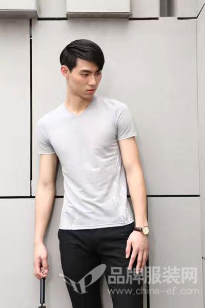 地球男装2017夏季英伦丝光棉T恤