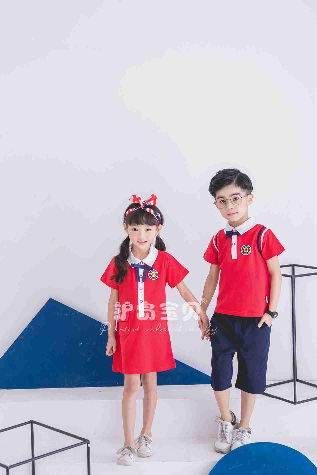 护岛宝贝幼儿园园服男女童新款珠地棉棒球服儿童夏季套装校服