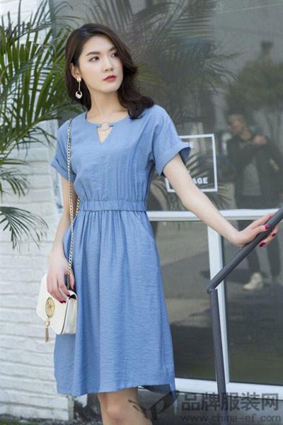雅兰姿女装2017夏季棉麻收腰连衣裙