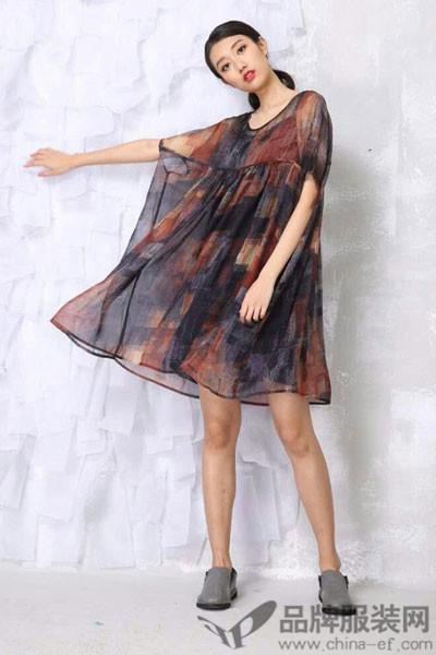 卡风女装2017春夏雪纺连衣裙