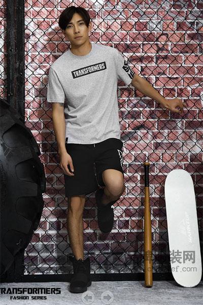 变形金刚男装2017夏季清新运动裤T恤