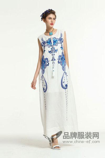 �B荟   B.Freeme女装2017夏季中国风文艺范连衣裙