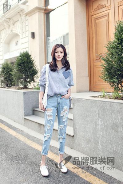 都市衣柜女装2017秋季快时尚百搭衬衫