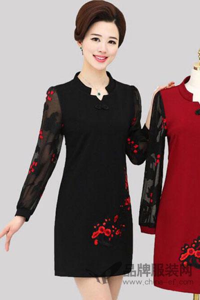飞波儿女装2017秋季中国风成熟连衣裙