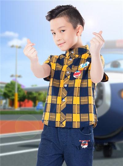 超级飞侠童装2017夏季潮童纯棉衬衫