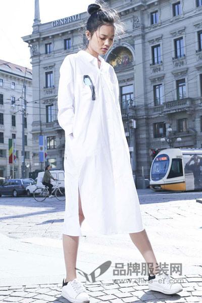M2稞女装2017夏季休闲长袖衬衫裙