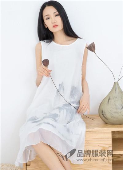 米多立女装2017夏季中国风无袖连衣裙