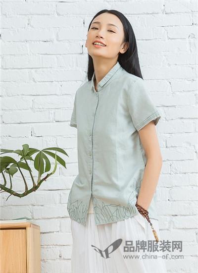 米多立女装2017夏季文艺范棉麻衬衫
