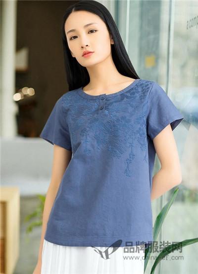 米多立女装2017夏季中国风刺绣T恤