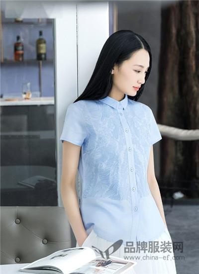 米多立女装2017夏季文艺范刺绣衬衫