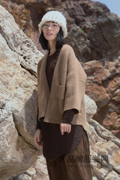 ZOLLE因为女装2017秋冬文艺范短款毛呢开衫外套