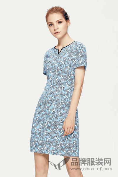 菲妮迪女装2017秋季中国风V领修身连衣裙