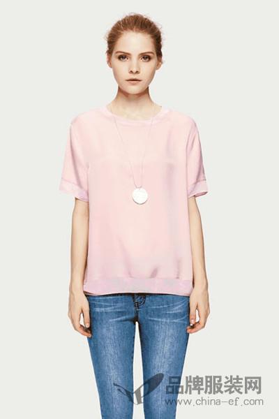 菲妮迪女装2017秋季文艺范短袖T恤