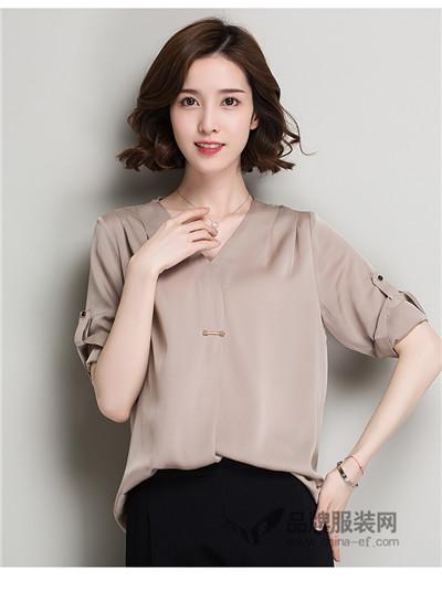 芭蒂丽尔女装2017秋季纯色v领衬衫