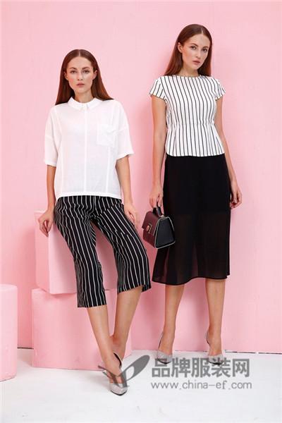 JAOBOO 乔帛女装2017夏季成熟条纹T恤
