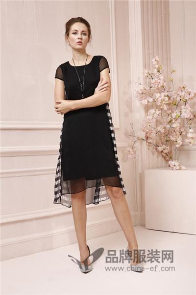 JAOBOO 乔帛女装2017夏季成熟不规则连衣裙
