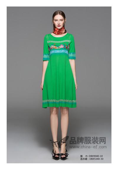 邓皓女装2017春夏中国风印花连衣裙