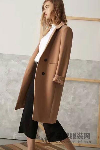 夏柏女装2017秋季韩版长款毛呢外套