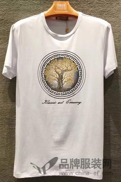 胤影男装2017夏季休闲印花T恤