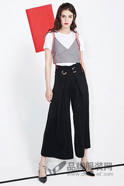 FASTFISH快鱼女装2017春夏时尚假两件吊带T恤