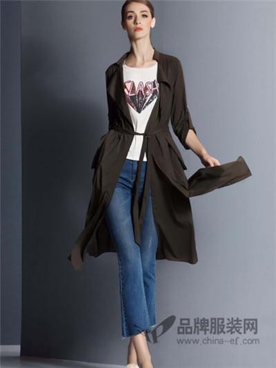 卡索女装2017秋季修身长款薄外套