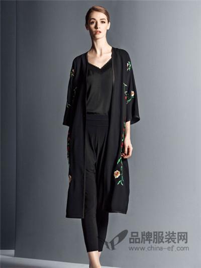 卡索女装2017秋季欧美印花中长款外套