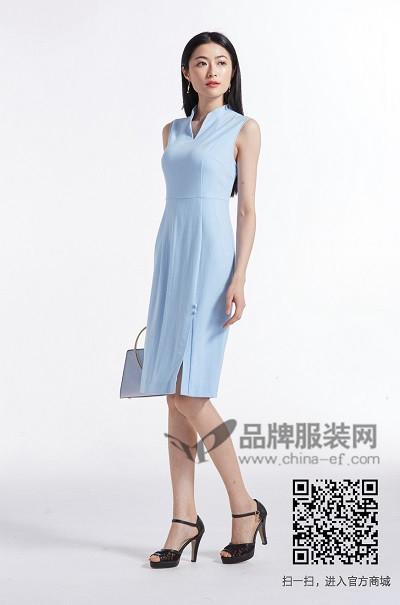 金帛锦女装2017夏季中国风v领连衣裙