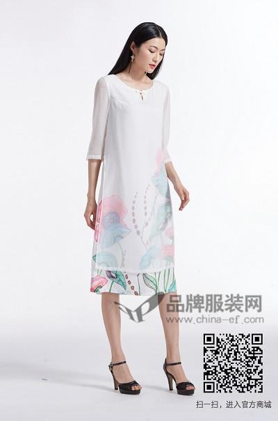金帛锦女装2017夏季中国风印花连衣裙