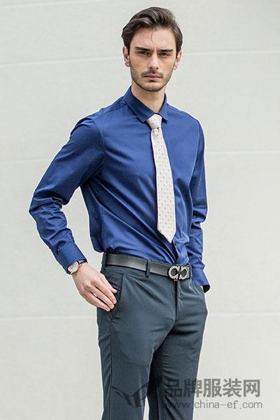 JUDGER/庄吉衬衫男士长袖免烫衬衫商务正装棉蓝色西装衬衣时尚