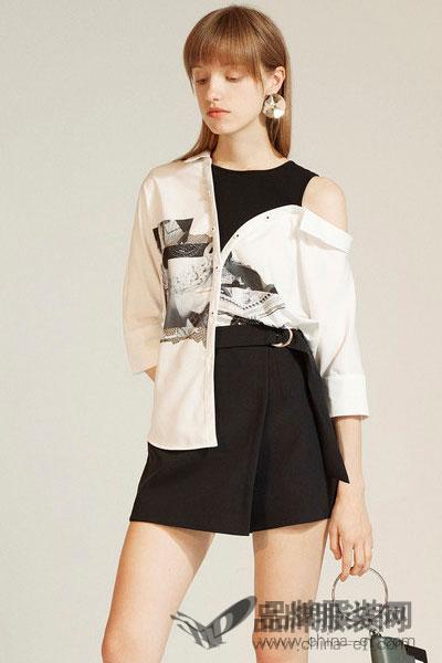 Lily2017秋新款女装商务通勤印花假两件露肩衬衫117300C4622