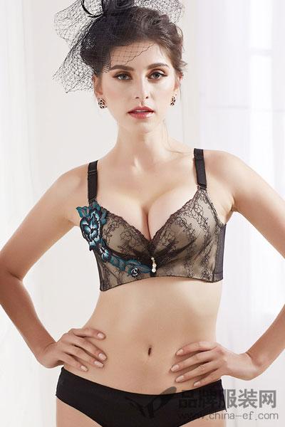 猫人女士无痕性感蕾丝文胸薄款 无钢圈深V聚拢收副乳内衣女