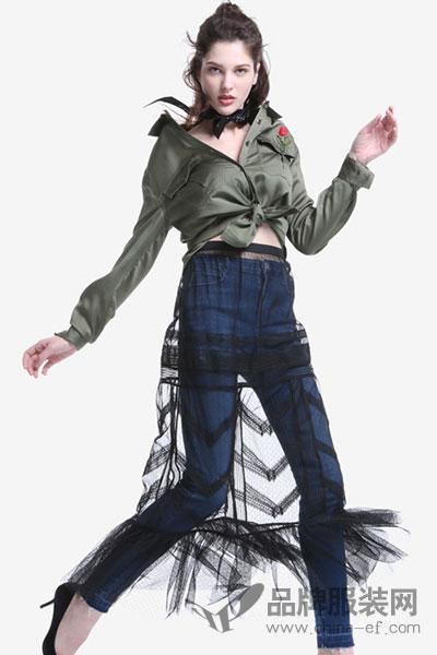 ochirly欧时力2017新女秋装两件套透视褶皱薄网纱长裙1JY3075650