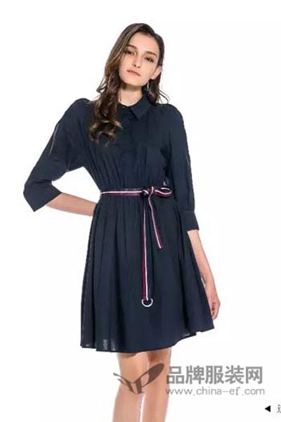 优洛可女装2017秋季休闲收腰连衣裙