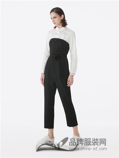 BELLO SZ �_素女装2017秋冬时尚修身呢连体裤