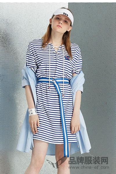 2017新款宽松蓝白细条纹连衣裙短袖袖纯棉衬衫裙中长裙夏耶尼尔