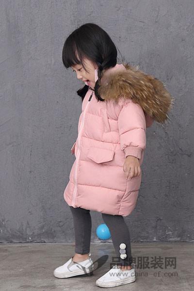 诺麦然童装2017秋季韩版中长款羽绒服