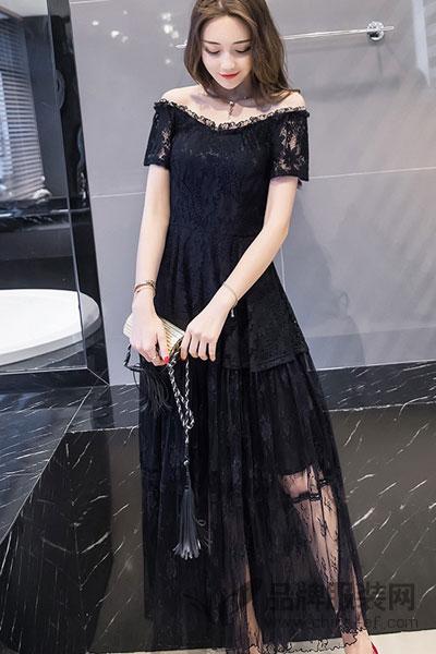 芊妃美大码黑色一字肩蕾丝连衣裙夏2017新款露肩气质淑女长裙韩版