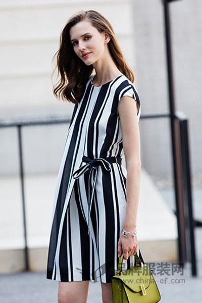 白领女装2017春夏时尚条纹系带连衣裙