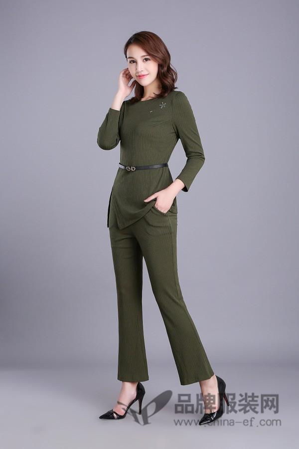 武汉惠品女装2017秋季商务修身针织套装