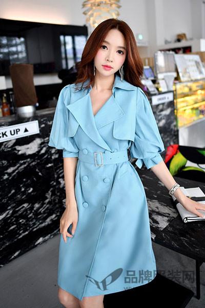 粉红大布娃娃女装2017秋季韩版气质修身复古系带风衣