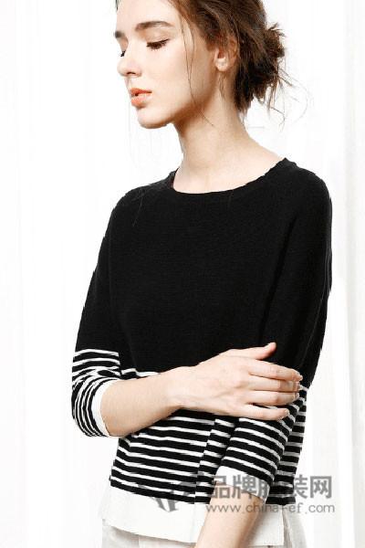 魅依阁女装2017秋季百搭条纹针织衫