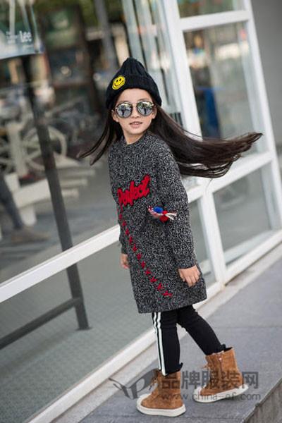 小嗨皮童装2017秋冬韩版中长款毛衣