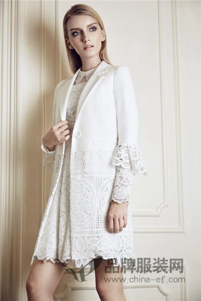 ANOTHER ONE女装2017秋冬商务蕾丝中长款外套